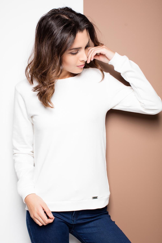 Ecru dresowa bluzka z kokardą na plecach