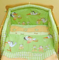 MAMO-TATO Poszewka na poduszkę 40x40cm Bociany w zieleni