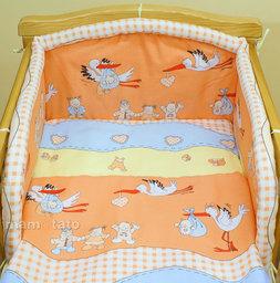 MAMO-TATO Poszewka na poduszkę 40x40cm Bociany w ceglastym pomarańczu