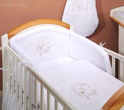 MAMO-TATO pościel 2-el Miś na księżycu w bieli do łóżeczka 70x140cm