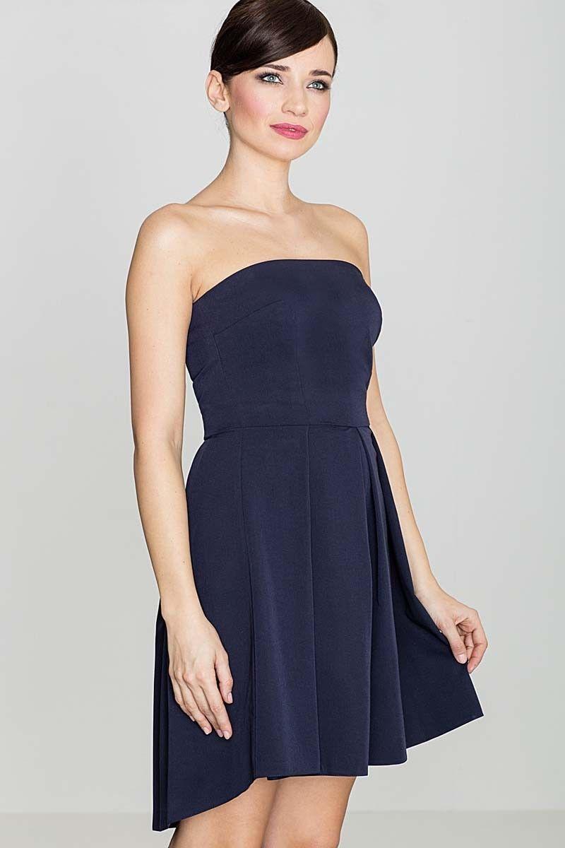 Elegancka granatowa gorsetowa sukienka z dłuższym tyłem
