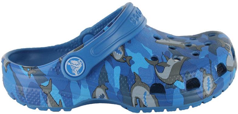 Klapki dziecięce Crocs Classic Shark Clog niebieskie2061474KI