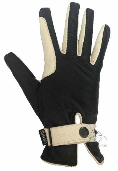 Rękawiczki ze skóry koziej welurowej ze wstawką licową cielęcą czarne/kremowe - KENIG