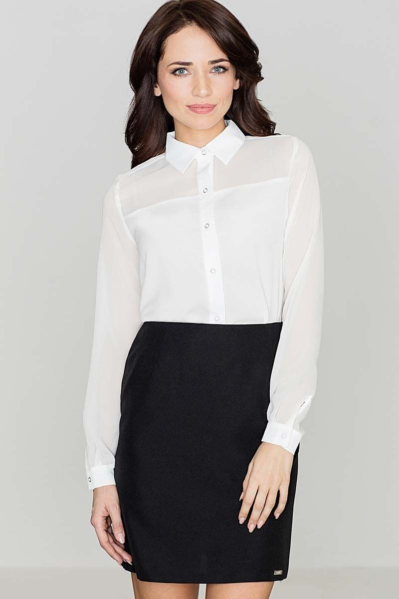 Ecru klasyczna koszula damska zapinana na zatrzaski