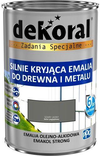 DEKORAL EMALIA EMAKOL STRONG SZARY JASNY POŁYSK 0,9 L