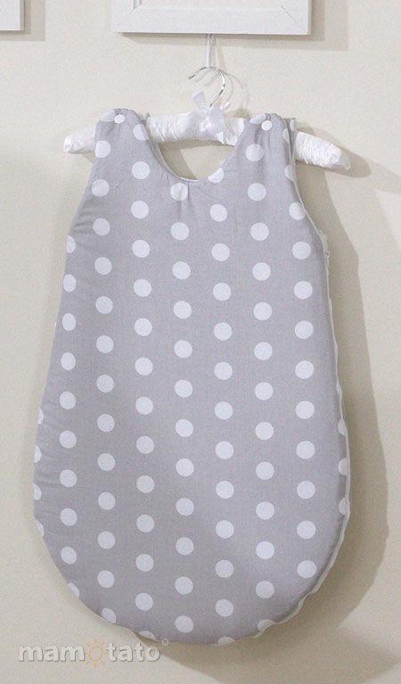 MAMO-TATO Śpiworek niemowlęcy Grochy szare