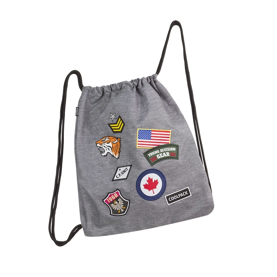 Worek na buty, sportowy CoolPack Sprint Badges Grey (A407) 90681CP