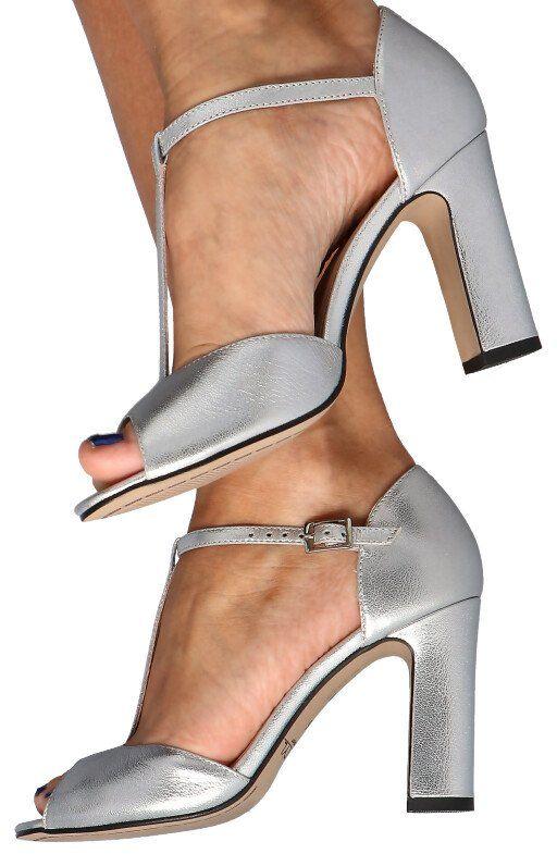 KOTYL 5935 SREBRNY - Taneczne sandałki na słupku - Srebrny