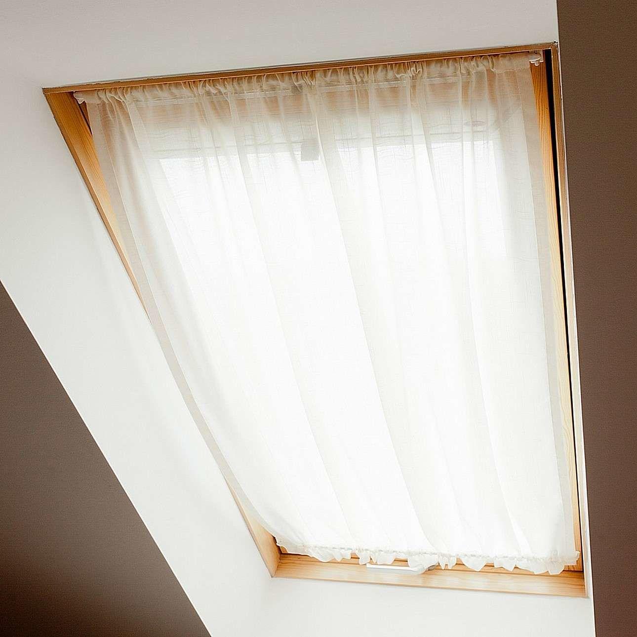 Zasłonka na okno dachowe, prześwitująca, biała, 110  126+3 cm grzywka, Romantica