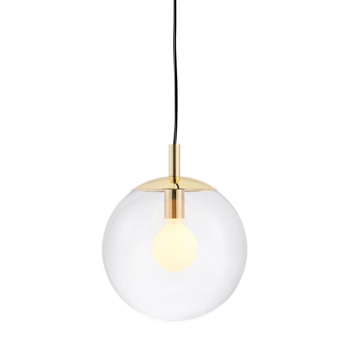 Lampa wisząca Alur S 10736109 KASPA pojedynczy zwis w kształcie kuli ze złotymi detalami