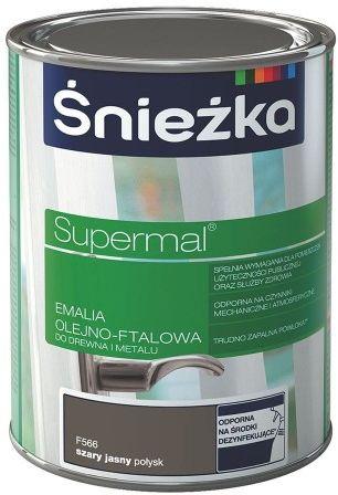ŚNIEŻKA SUPERMAL Emalia olejno-ftalowa szary jasny połysk F566 0,8L