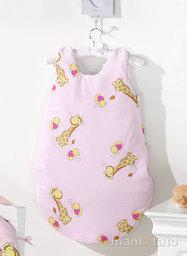 MAMO-TATO Śpiworek niemowlęcy Żyrafki różowe