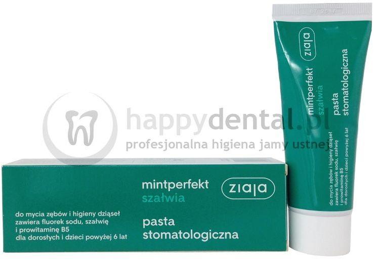 ZIAJA MINTPERFECT SZAŁWIA pasta 75ml - pasta do zębów z fluorem, ekstraktem z szałwii i prowitaminą B5 zapewniająca ochronę zębów i dziąseł