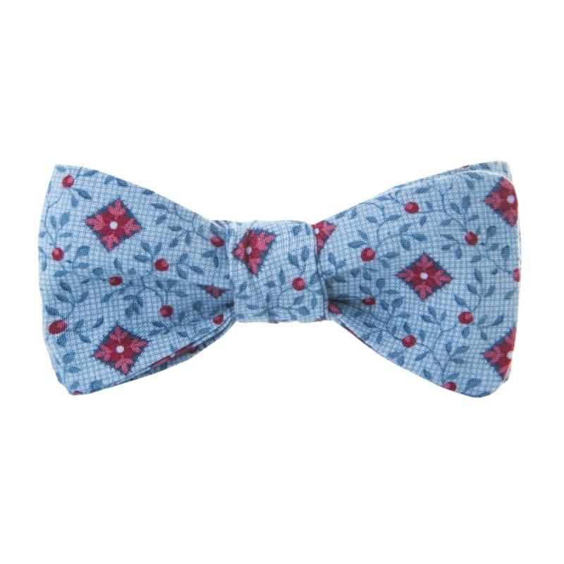 Niebieska Mucha Wiązana, 100% Bawełna - Gałązki, Motyw Florystyczny - Krago, Męska MUKRGO51