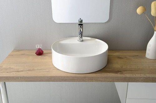 Umywalka ceramiczna nablatowa, średnica 45cm, biała