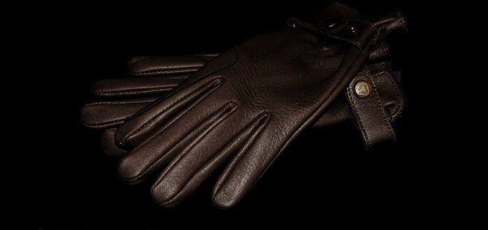Rękawiczki ze skóry jelenia- gorzka czekolada - KENIG