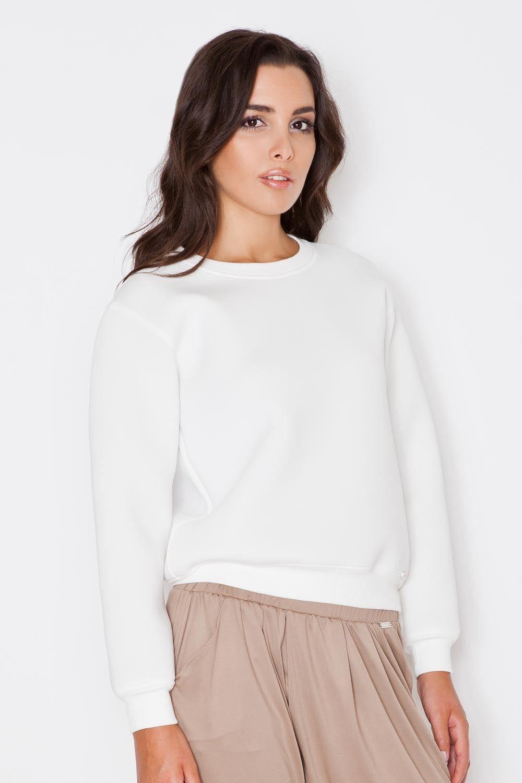 Ecru bluza damska z okrągłym dekoltem