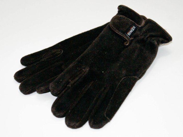 Rękawiczki KENIG skóra z wykończeniem welur ciemny brąz z zapięciem na rzep