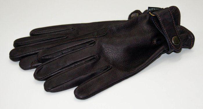 Rękawiczki ze skóry jelenia- śliwkowe - KENIG