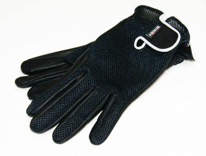 Rękawiczki KENIG ze skóry koziej z siatką czarne z białą lamówką