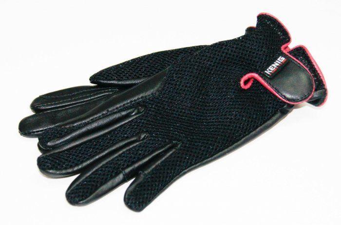 Rękawiczki letnie skórzano-siatkowe z malinową lamówką - KENIG
