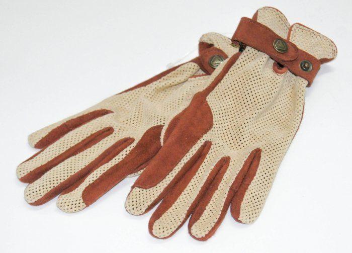 Rękawiczki letnie perforowane brązowo-beżowe- KENIG