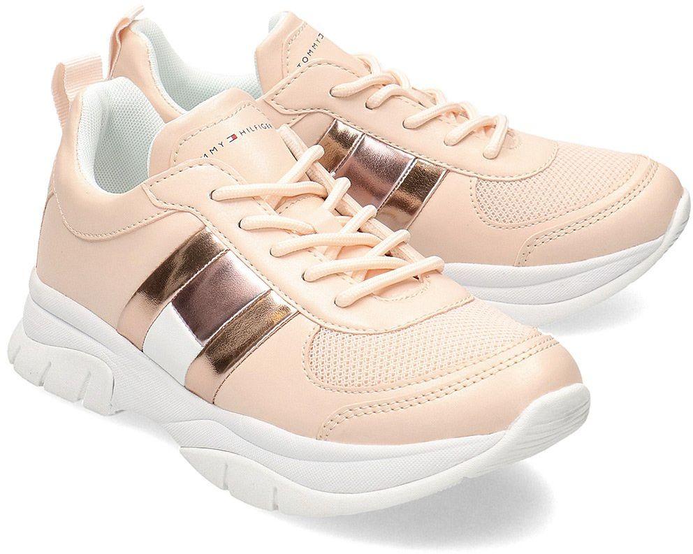 Tommy Hilfiger Low Cut Lace-Up - Sneakersy Dziecięce - T3A4-30633-0968302 PINK - Różowy