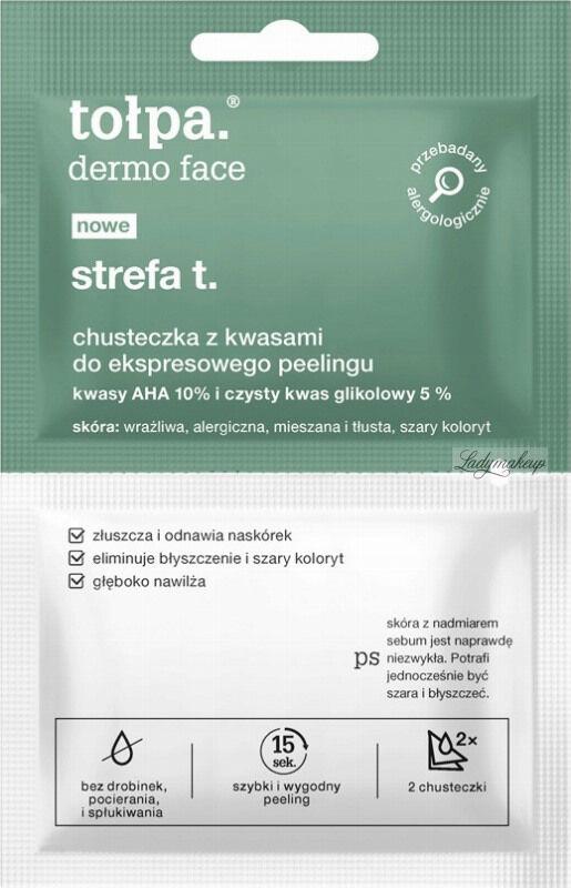Tołpa - Dermo Face Strefa T - Chusteczka z kwasami do ekspresowego peelingu twarzy - 2 sztuki