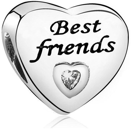 Rodowany srebrny charms pandora serce best friends cyrkonia srebro 925 PAS324