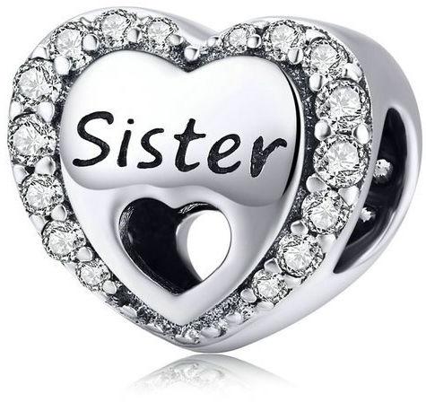 Rodowany srebrny charms do pandora serce heart siostra sister cyrkonie srebro 925 CHARM268