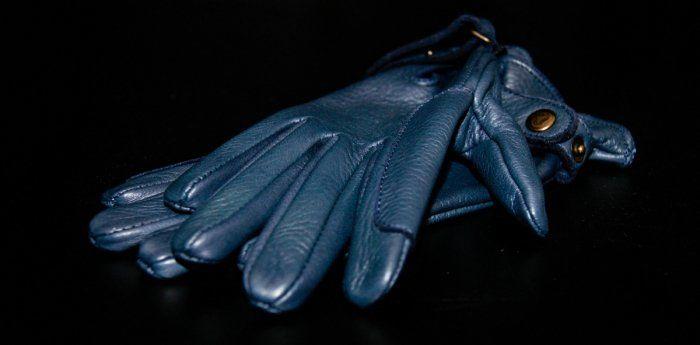 Rękawiczki ze skóry jelenia- granatowe - KENIG