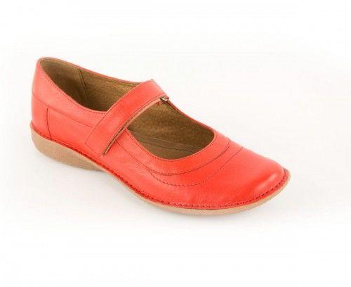 Skórzane półbuty damskie zapinane na rzep - czerwone