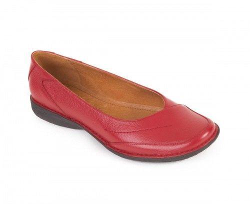 Piękne skórzane półbuty damskie wsuwane - czerwone
