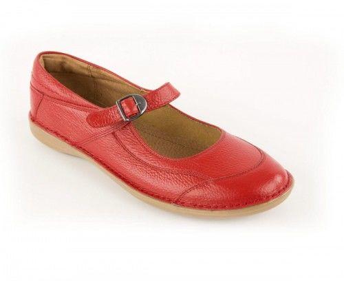 Skórzane półbuty damskie zapinane na pasek - czerwone