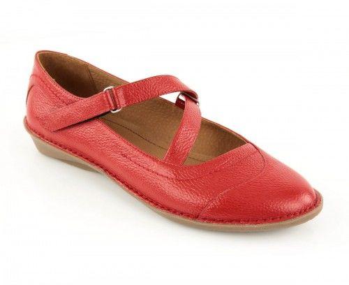 Skórzane półbuty damskie zapinane na pasku - czerwone