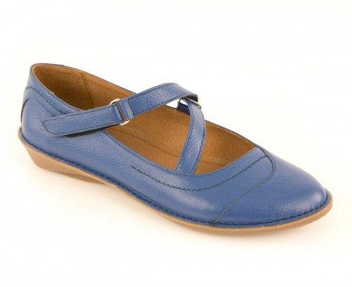Skórzane półbuty damskie zapinane na pasku - niebieskie