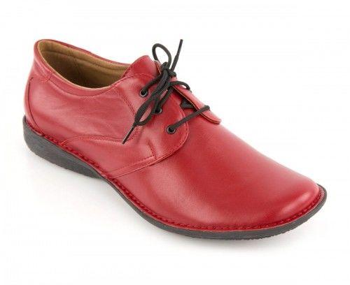 Skórzane półbuty damskie sznurowane - czerwone
