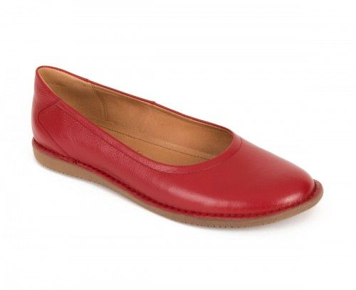 Skórzane półbuty baleriny damskie - czerwone