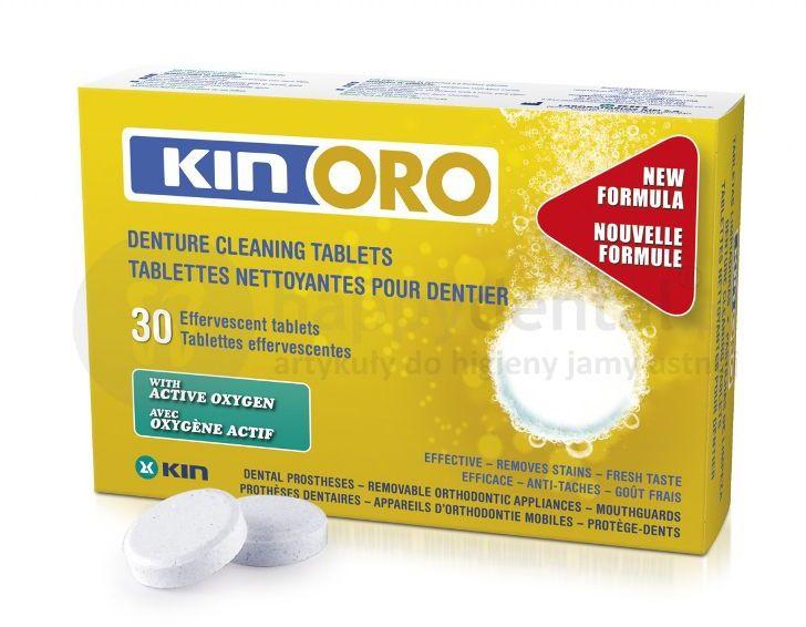 KIN ORO Denture Cleaning Tablets 30szt. - Tabletki czyszczące z aktywnym tlenem dogłęnie oczyszczające protezy zębowe