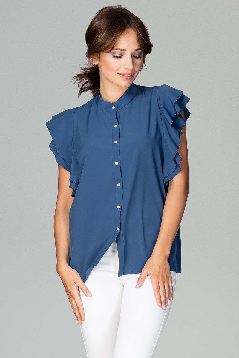 Granatowa koszulowa bluzka z falbankowym rękawem