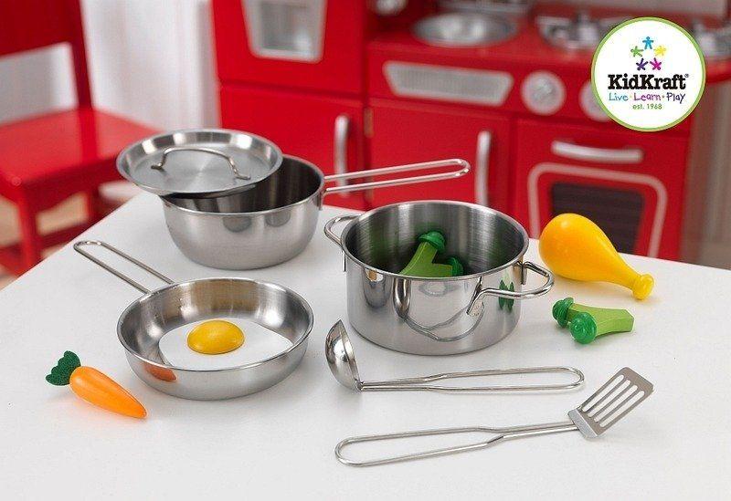 Srebrny zestaw kuchenny dla dzieci z dodatkami, 63186-Kidkraft, zabawki dla dzieci kuchnia