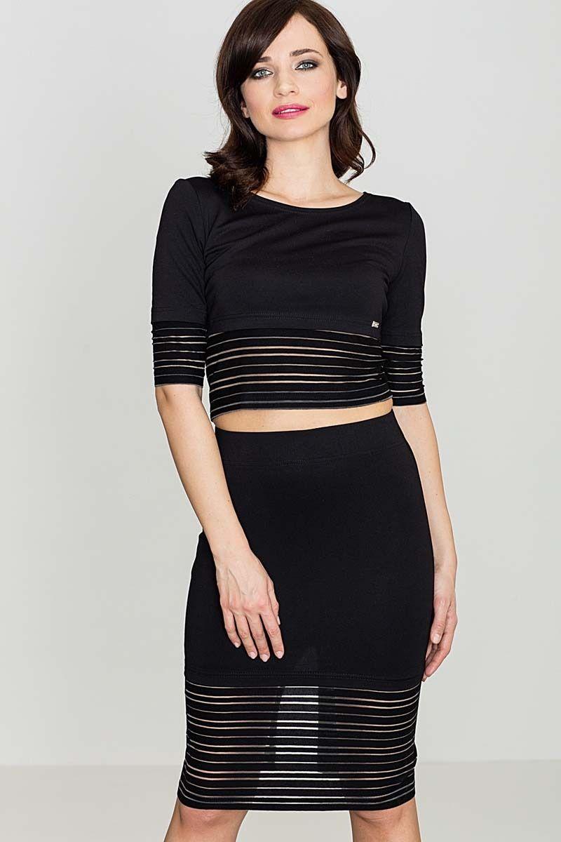Czarny komplet spódnica midi i krótka bluzka z prześwitami