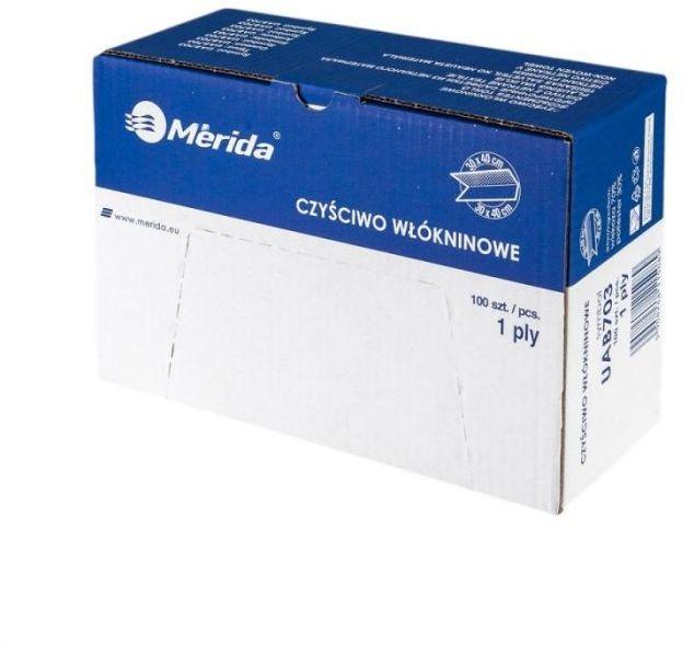 Czyściwo włókninowe w listkach, białe, karton 100 szt.