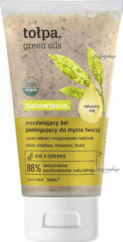Tołpa - Green Oils - Orzeźwiający żel peelingujący do mycia twarzy - 150 ml