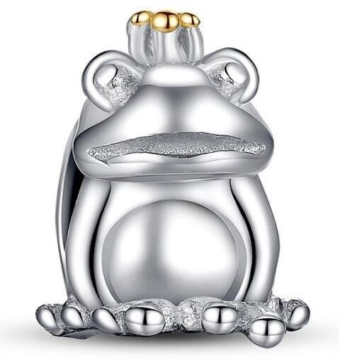 Rodowany srebrny charms do pandora żabka żaba księżniczka frog srebro 925 PAS007