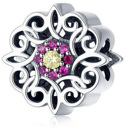 Rodowany srebrny charms do pandora kolorowy kwiat flower cyrkonie srebro 925 GS223