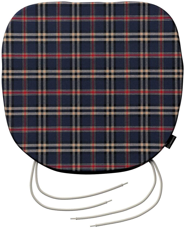 Siedzisko Bartek na krzesło, granatowo - czerwona kratka, 40  37  2,5 cm, Bristol
