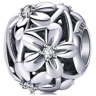 Rodowany srebrny charms pandora kwiaty flowers cyrkonie cyrkonie srebro 925 BEAD079