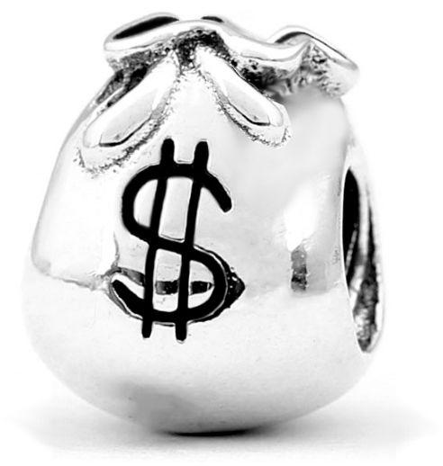 Rodowany srebrny charms do pandora worek pieniędzy sakiewka srebro 925 PAS198