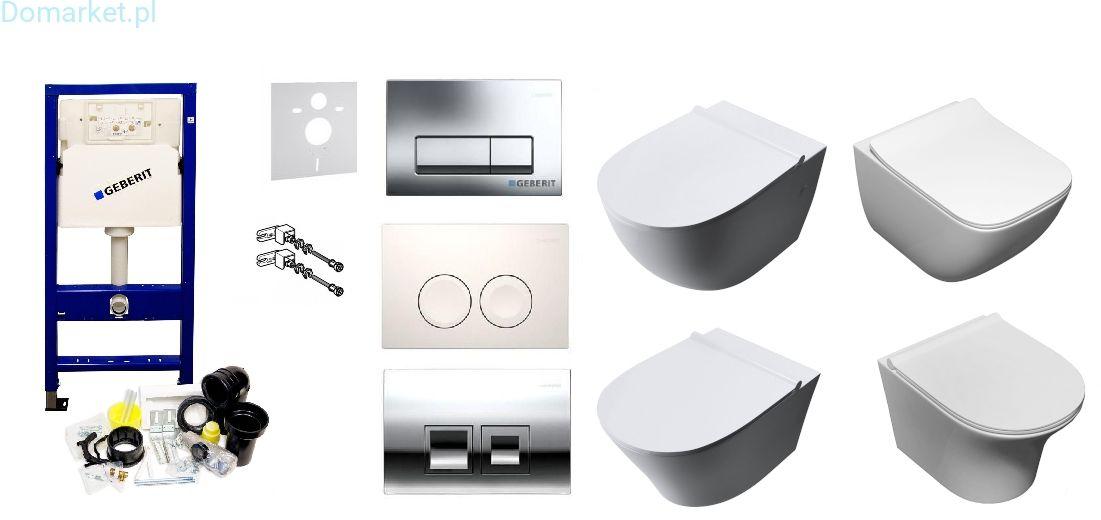 Zestaw podtynkowy: stelaż Geberit UP100, misa WC serii Rimless, przycisk, deska wolnoopadająca, mata oraz wsporniki